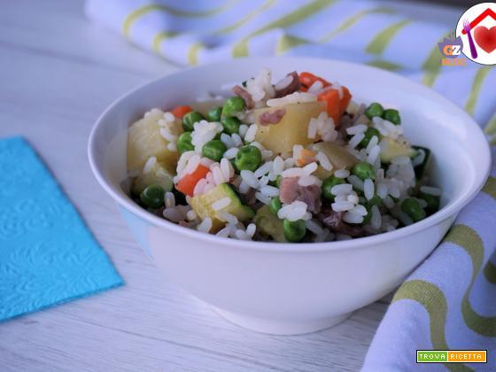 Insalata di riso e verdure al vapore