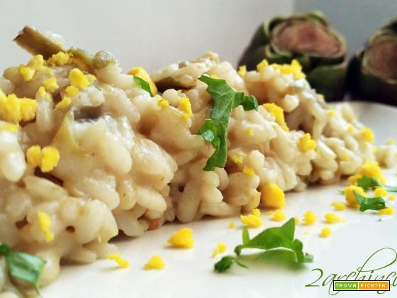 """Risotto """"pasqualino"""": carciofi e mimosa di uova"""