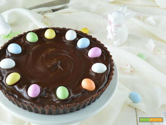 Crostata al cacao senza cottura con crema alla ricotta e ganache al cioccolato