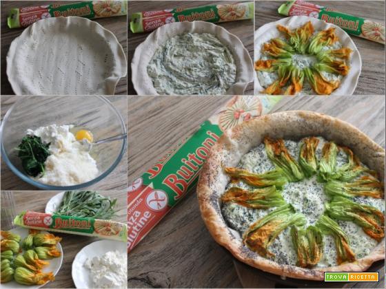 Sfoglia senza glutine con ricotta, carletti e fiori di zucca