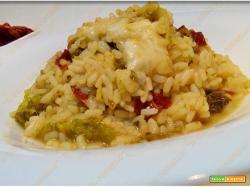 Riso con cavolo verza pomodori secchi e asiago