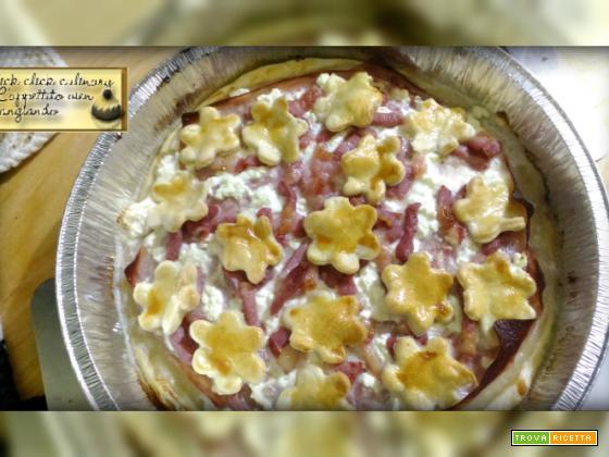 Crostata in Brisèe con prosciutto cotto e fiocchi di latte