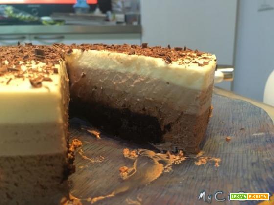 Torta bavarese ai 3 cioccolati, ricetta Montersino cuchizzata per Cuisine e i-Companion Moulinex