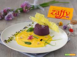 Budino salato con zafferano cremoso e croccante