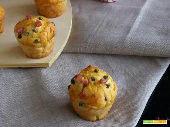 Muffin salati al prosciutto cotto e piselli
