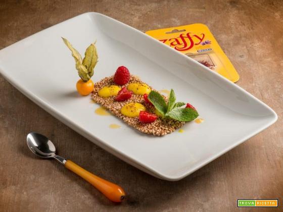 Tegolina di Amaranto e Quinoa con cioccolato fondente e spuma di patateallo zafferano