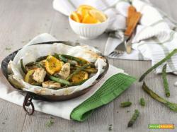 Pollo in cartoccio con asparagi miele e arancia