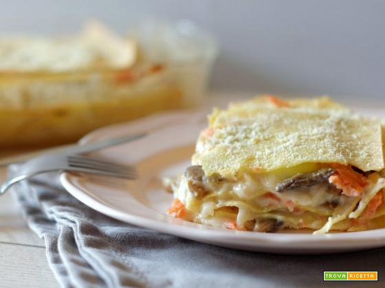 Lasagne con funghi e salmone