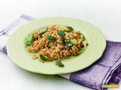 riso croccante con zucchine ed avocado