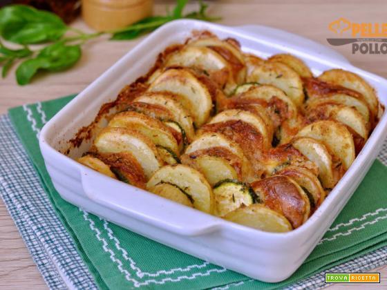 Patate e zucchine gratinate al forno