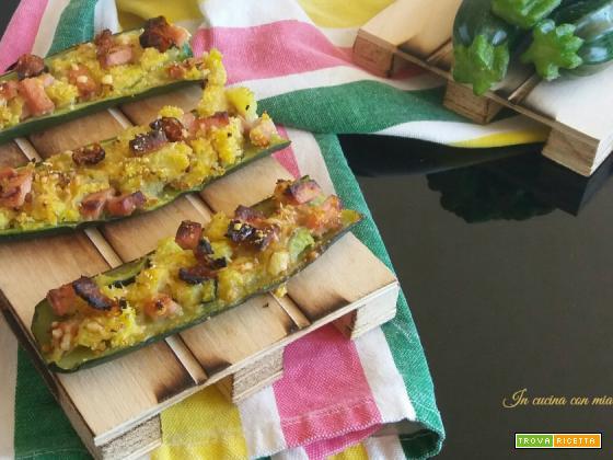 Barchette di zucchine ripiene di prosciutto cotto – ricetta contorno leggero