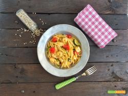 Trofie con zucchine, gamberetti e pomodorini