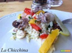 Insalata di riso con moscardini, seppie e peperoni