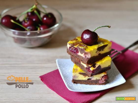 Brownie cheesecake alle ciliegie