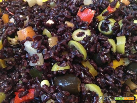 Riso venere a vapore con condimento light di verdure (insalata di riso) col CuCo