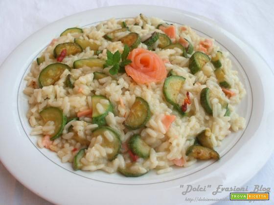 Risotto  alle Zucchine e Salmone Affumicato