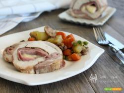 Rollè di pollo farcito e verdure stufate