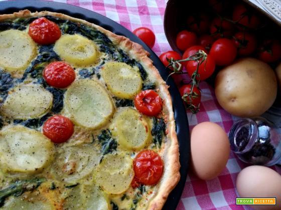 Torta salata con patate, pomodorini e frittata di erbette