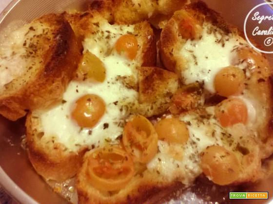 bruschette pomodoro mozzarella origano