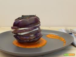 Parmigiana estiva di melanzane viola e scamorza