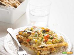 Lasagnette estive di pane azzimo con verdure