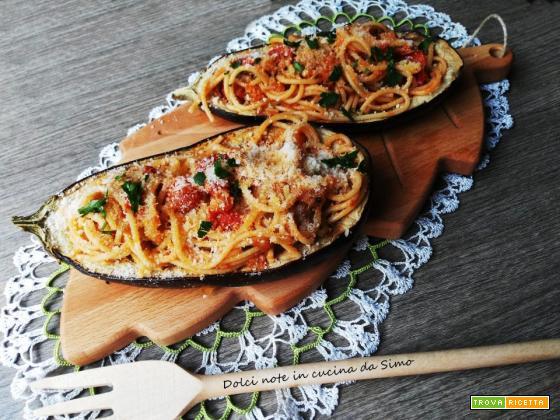 Melanzane ripiene di spaghetti