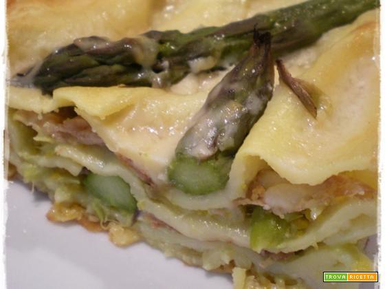 Lasagne con asparagi e prosciutto crudo