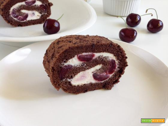 Rotolo al cacao con ciliegie e ricotta