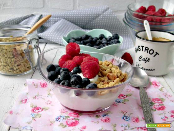 Yogurt fatto in casa con frutta e granola