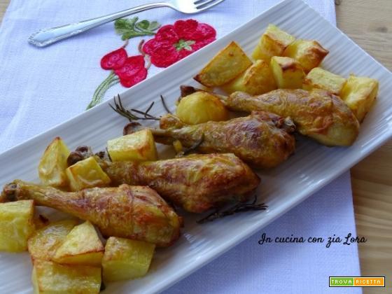 Cosce di pollo con patate al forno ricetta - Come cucinare le cosce di pollo in padella ...