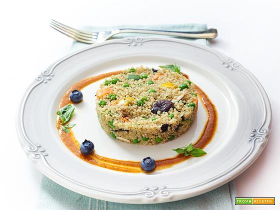 quinoa con salsa ai peperoni