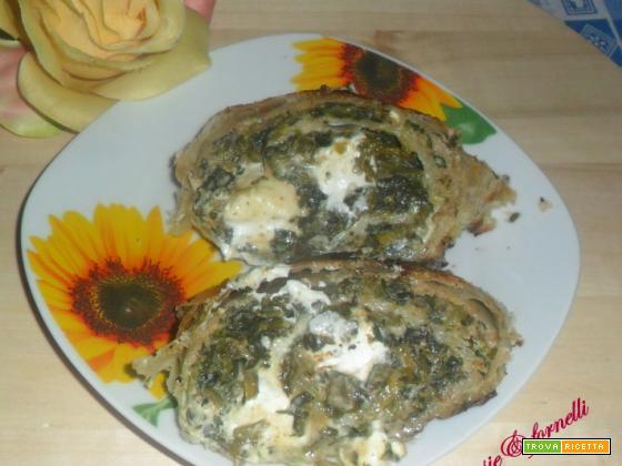Rotolo di pasta sfoglia con spinaci e philadelphia