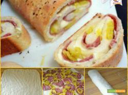 rotolo di pasta di pane con peperoni salame e scamorza
