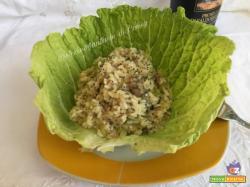 Risotto con verza salsiccia e semi di Chia