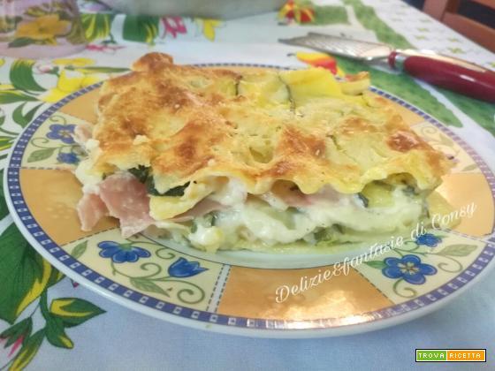 Lasagna bianca con zucchine e prosciutto