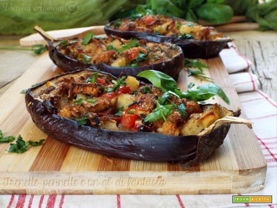 Melanzane in barchetta con patate