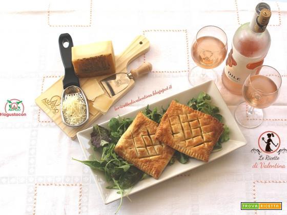 Quadri di sfoglia ripieni di zucca Mantovana, salvia e Asiago DOP su letto di misticanza con vinaigrette all'arancia, vino d'accompagnamento Dilé Rosato