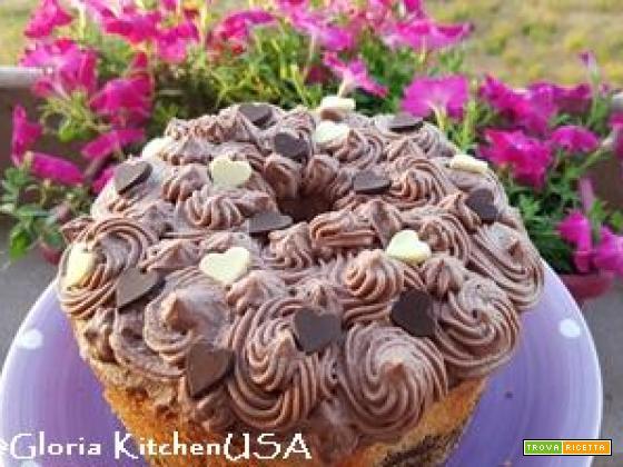 Chiffon Cake all'Acqua Marmorizzata con Crema Chantilly al Cioccolato