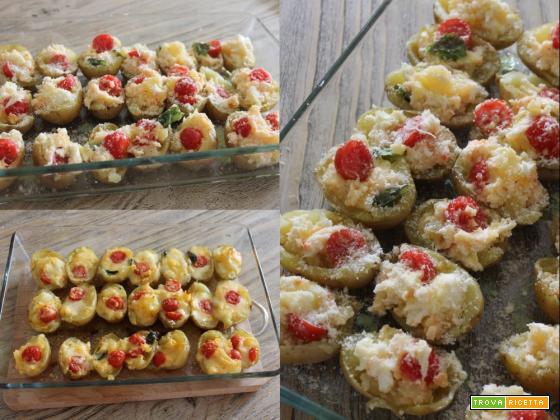 Patate ripiene di mozzarella e pomodorini