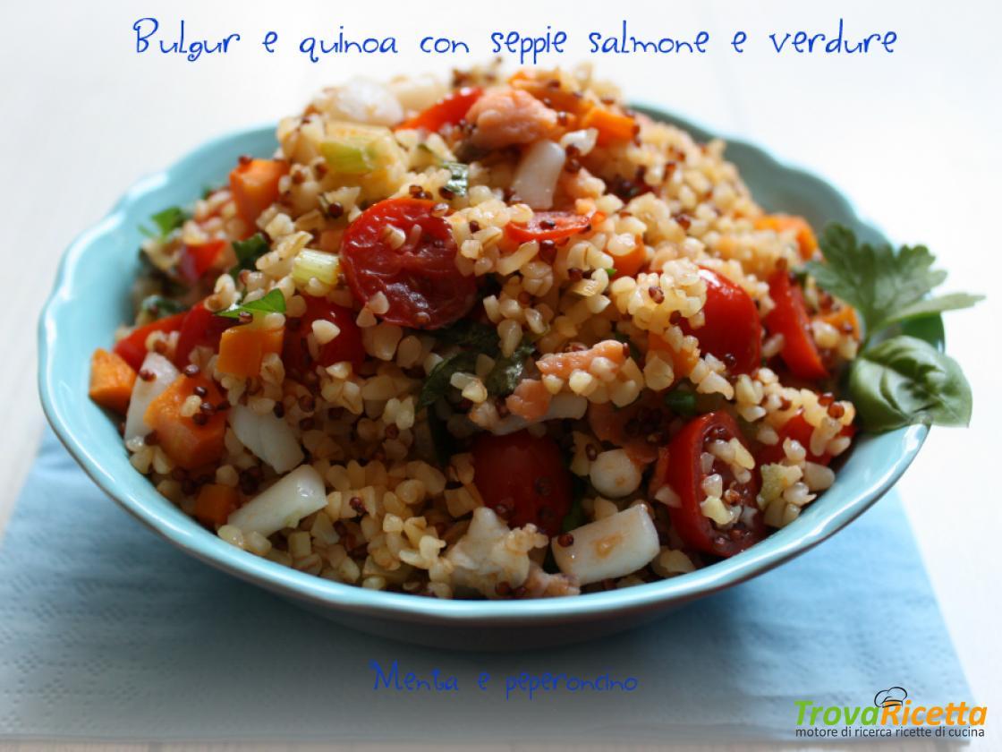 Ricetta Quinoa E Bulgur.Bulgur E Quinoa Con Seppie Salmone E Verdure Ricetta Trovaricetta Com