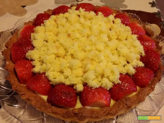 Crostata mimosa con fragole e crema di limoncello