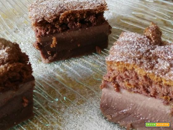 Quadrotti di Torta Magica al cacao.
