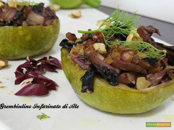 Zucchine con radicchio e noci