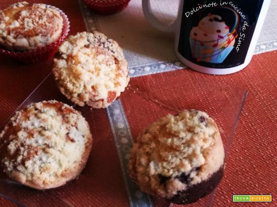 Muffins bicolore con crumble