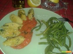 Quenelle (Knell) di miglio fagiolini e olive