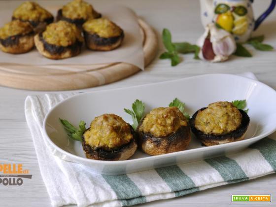 Funghi ripieni di carne al forno