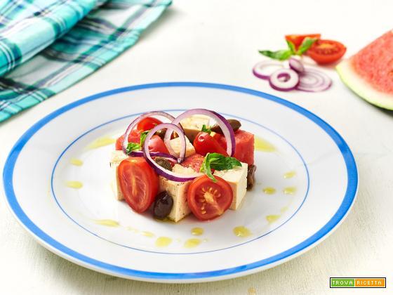 tofu d'estate con pomodori ed anguria