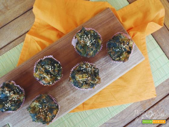 Muffin di segale con spinaci e cavolfiore