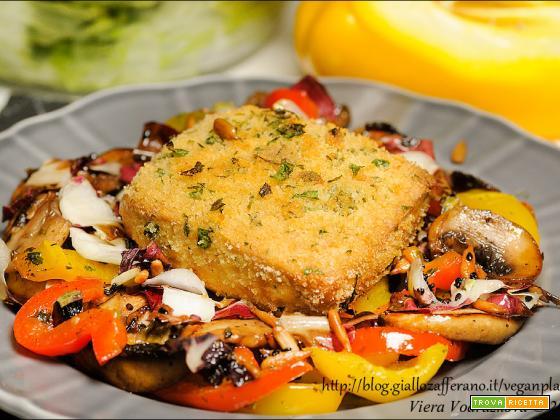 Tofu gratinato con verdure spadellate