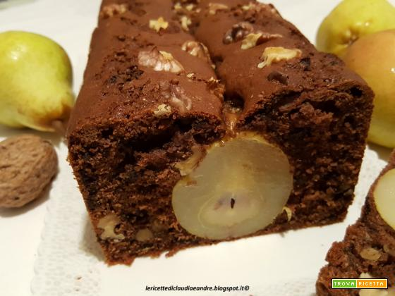 Plumcake al cacao, noci, cioccolato e pere